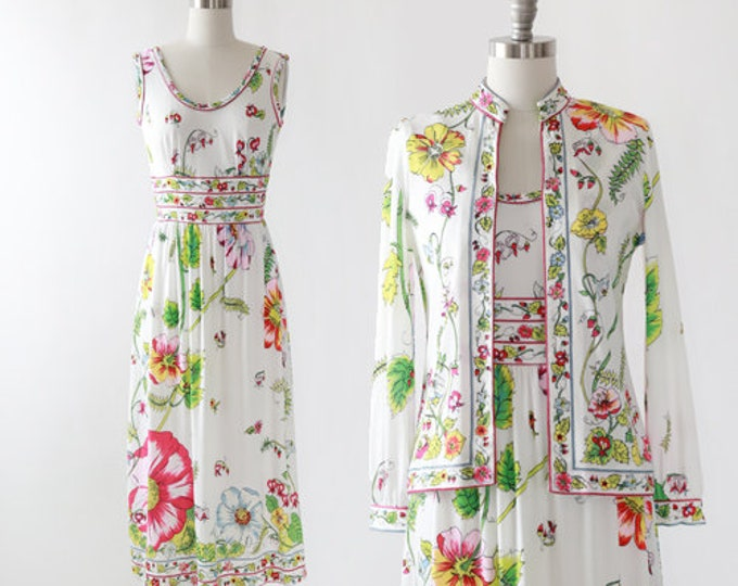 Mauriee floral dress  | Vintage 70s Saks Fifth Ave 2pc floral dress cardigan | Mauriee by C Rizza floral dress