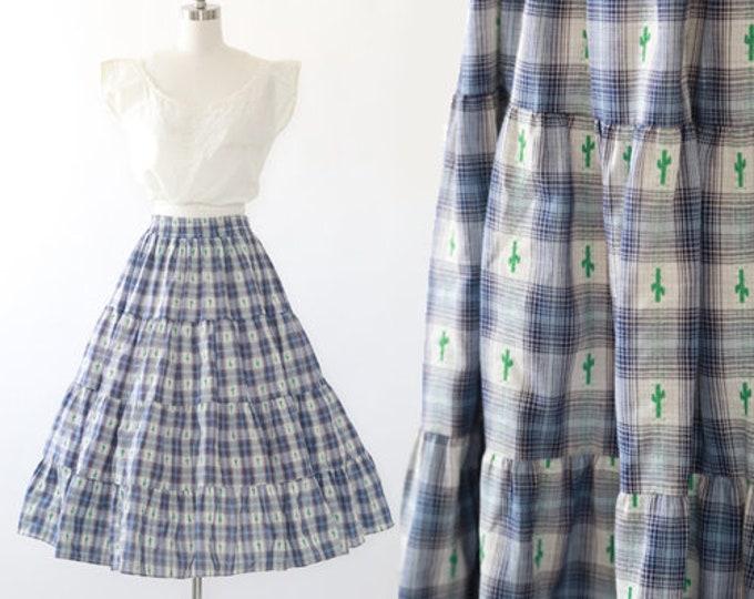 Desert Cactus skirt | Vintage 70s 80s Western plaid Cactus full skirt