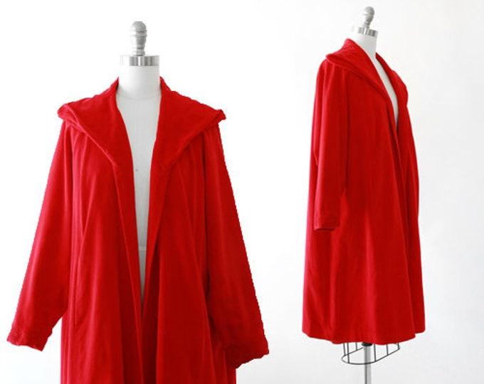 Trapeze velet coat | Vintage 50s Red velvet swing coat jacket | 1950s red velvet coat