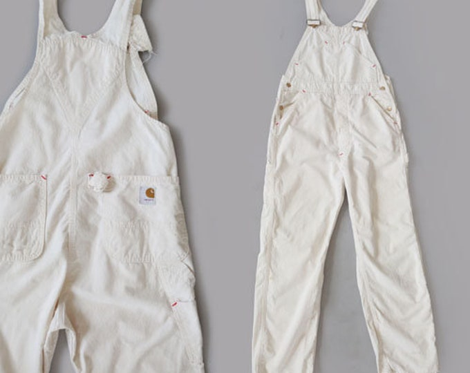 Carhartt overalls | Vintage 60s 70s union made white cotton overalls | workwear overalls W34 L33 1/2