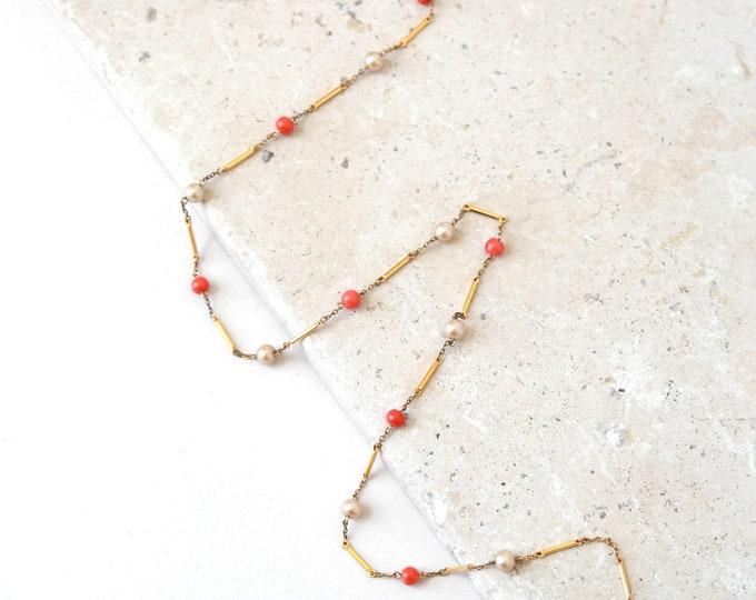 Pearl necklace | Vintage 60s gold chain Peal coral necklace