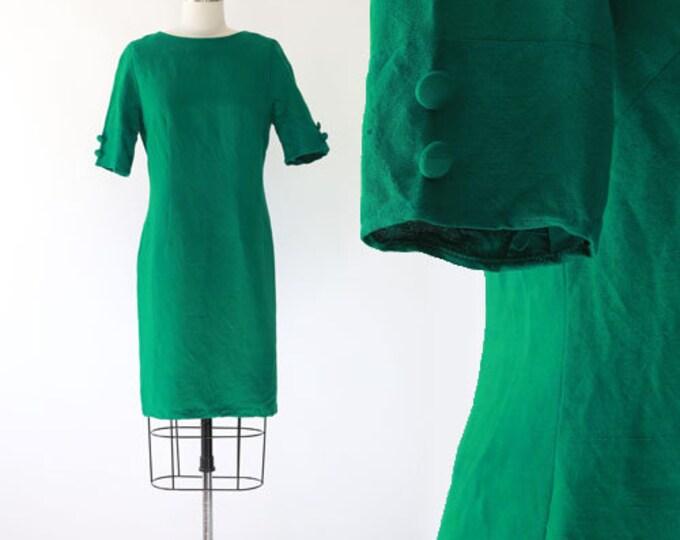 Vintage 60s green linen shift dress