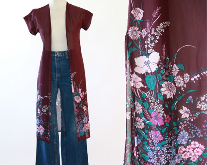 Floral duster | Vintage 70s sheer purple duster
