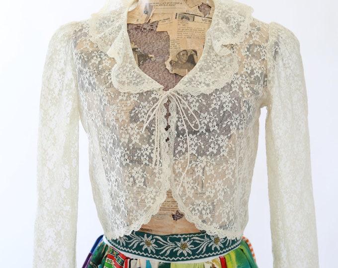 Lace bolero | Vintage 70s sheer floral lace bolero jacket | wedding bolero