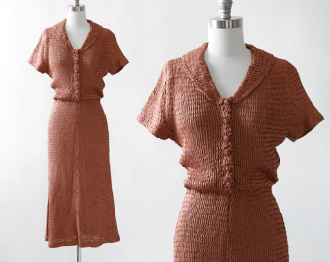 Russet ribbon dress | Vintage 30s woven ribbon dress | 1930s brown ribbon dress