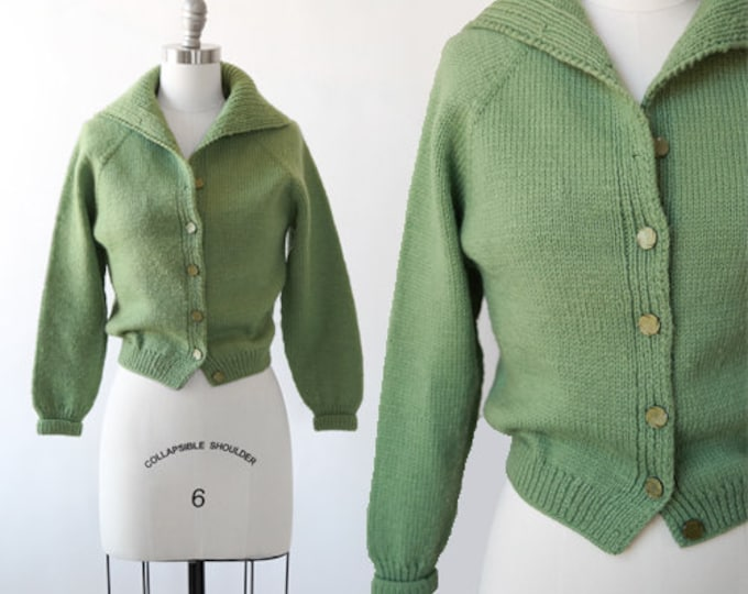Olive knit cardigan | Vintage 50s wool knit cardigan  | green knit sweater