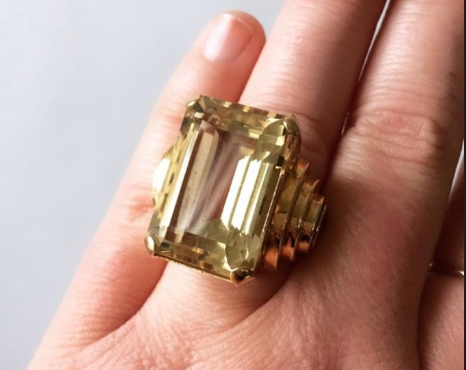 Antique Vintage Art deco 14K gold emerald cut citrine cocktail ring 7 7.5