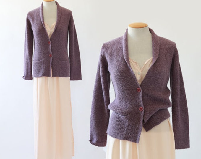 Purple Knit cardigan | Vintage 70s sweater