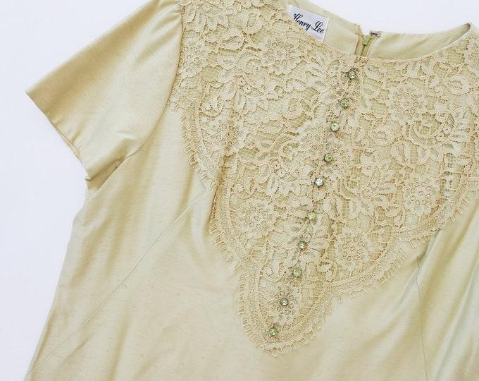 Henry Lee Mint silk dress | Vintage 60s silk floral lace jeweled MOD dress M