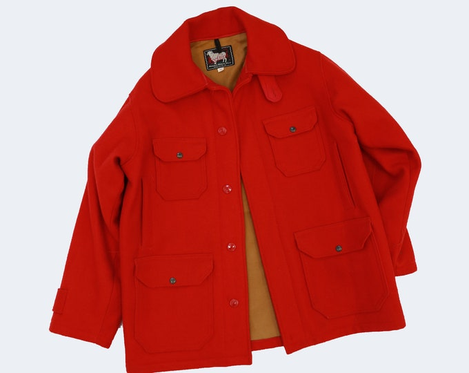 Woolrich coat | Vintage 50s red Woolrich wool hunting jacket coat | mens coat