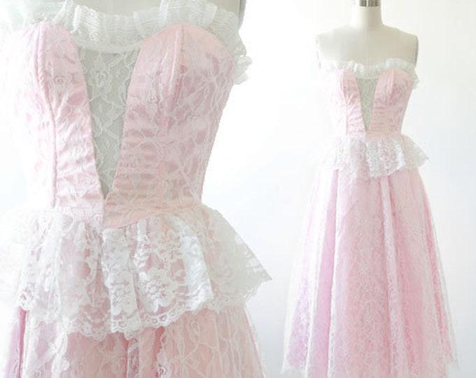 Lace Gunne Sax dress   Vintage 80s Gunne Sax pink floral lace Dress