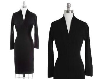 Geistex sweater dress | Vintage 40s black knit wool  dress | 1940s sweater dress