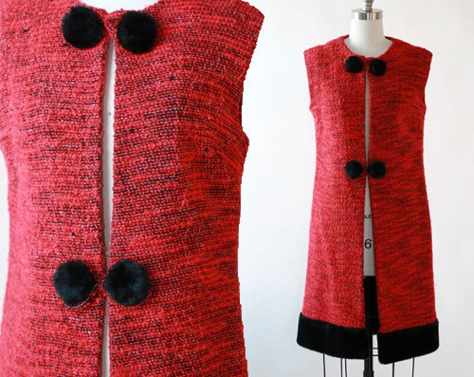 Tapis long vest | Vintage 60s Red woven faux fur vest | Needlepoint long vest