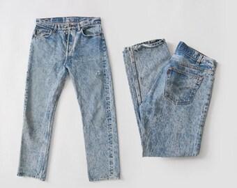 501 Acid wash levis | Vintage 80s Levis Acid Wash jeans USA W33 L30
