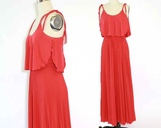 Jody T maxi dress | Vintage 70s coral pleated maxi dress S