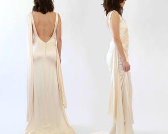 Vintage silky satin Wedding dress | Art deco 30s style cream wedding dress S