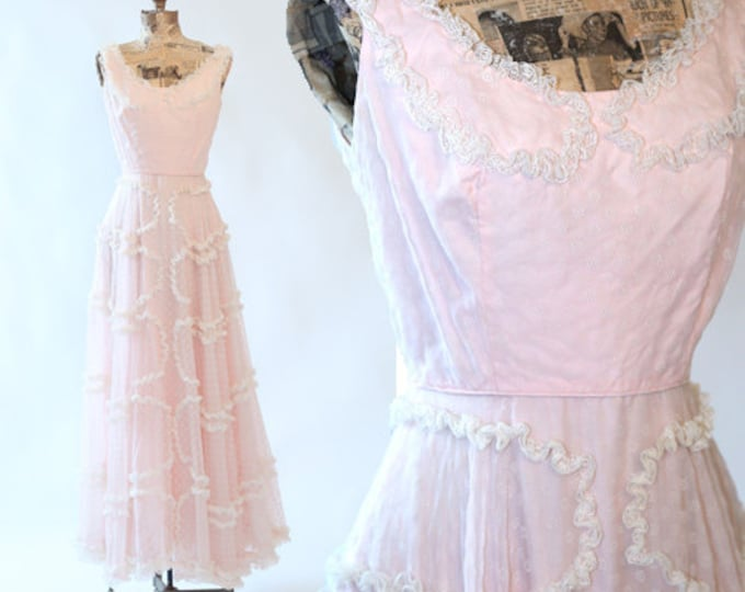40s dress | Vintage 40s floral ruffle tiered Wedding maxi dress