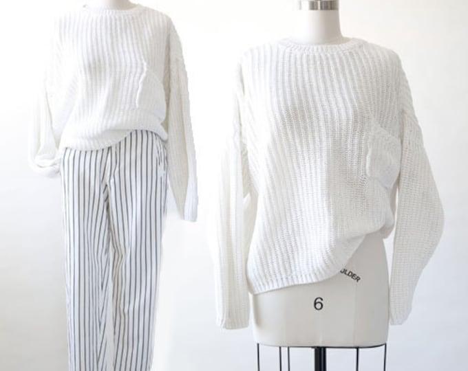 90s oversized knit cotton ramie pocket sweater