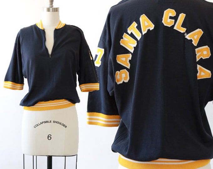 California College sweater | Vintage 40s 50s College Varsity Santa Clara California Letterman blue knit Sweater