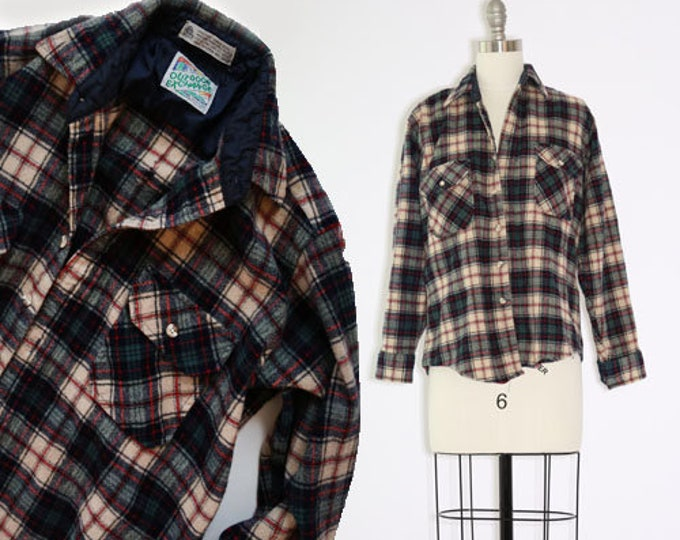 Outdoor Exchange plaid | Vintage 80s Wool plaid Shirt