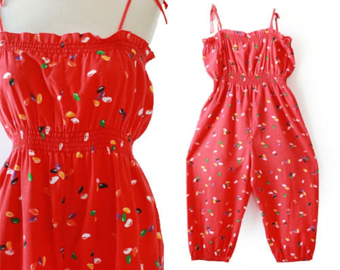 Jellybean romper | Vintage 70s dot Jumpsuit playsuit romper