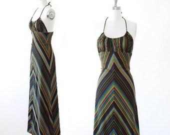 Rainbow Maxi dress | Vintage 70s rainbow chevron halter top maxi dress