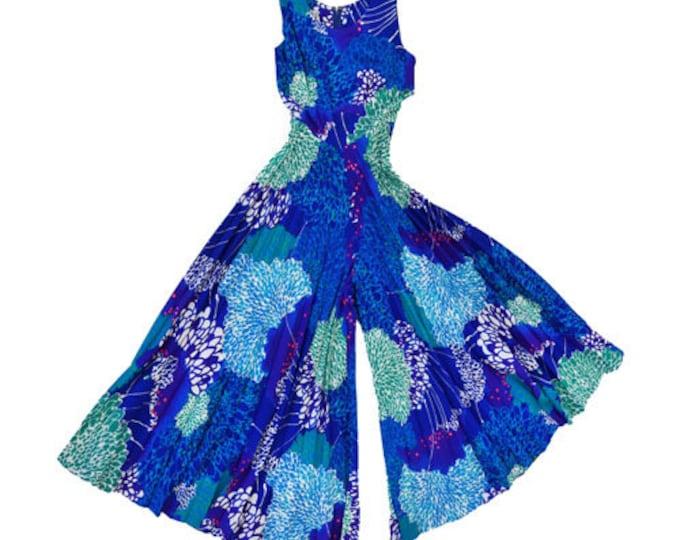 Krist barkcloth jumpsuit | Vintage 60s floral Hawaiian Jumpsuit | barkcloth Festival Palazzo Playsuit