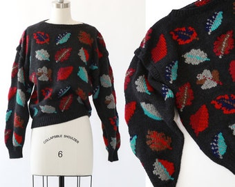 Autumn leaf sweater | Vintage 80s 90s knit wool sweater