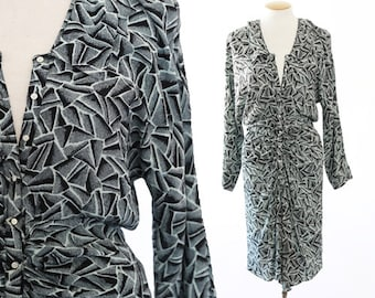 NICOLE MILLER abstract dress | Vintage 90s dolman sleeve dress S