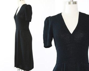 St. John knit dress | Vintage 80s St. John black knit midi dress
