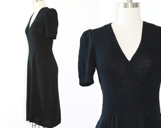 St. John knit dress   Vintage 80s St. John black knit midi dress