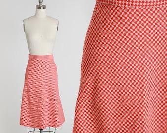 Gingham skirt | Vintage 60s red + white checker wool skirt