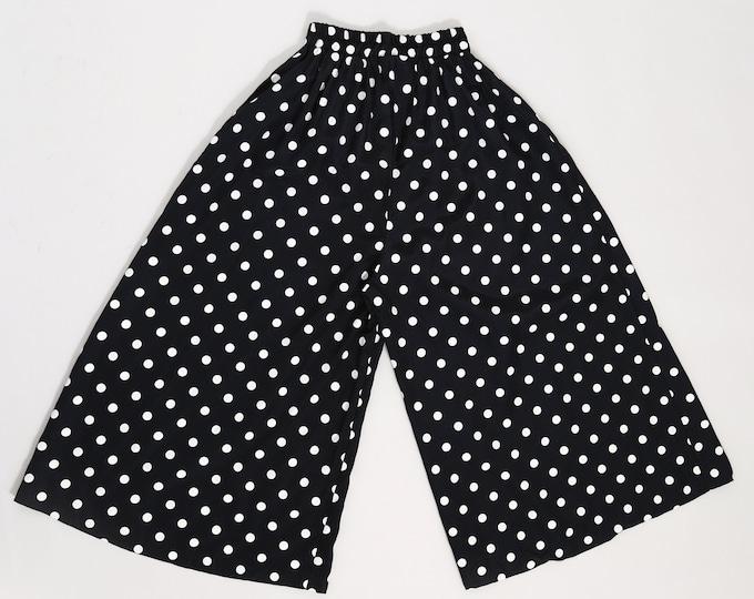 80s polka dot Gauchos   Vintage 80s culottes   Cropped polka dot slacks