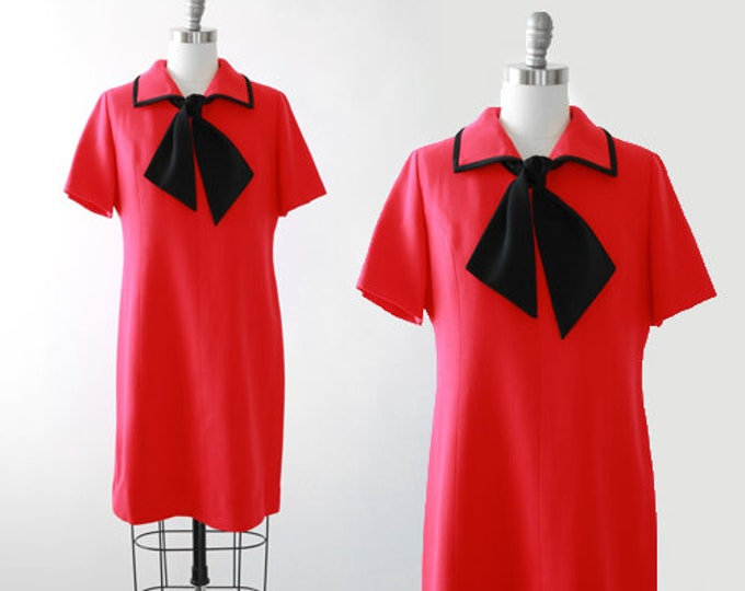 60s Sailor dress | Vintage 1960s red knit sailor shift dress