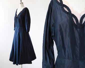 New look silk dress | Vintage 40s 50s navy blue silk dress | 40s silk dress