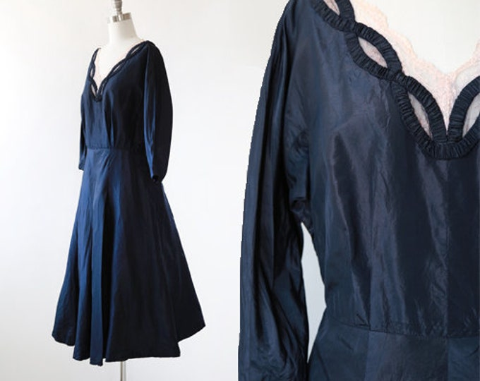 New look silk dress | Vintage 40s 50s navy blue silk dress | 40s silk dress