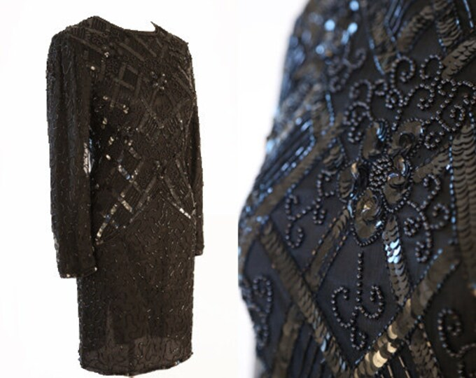 Silk sequin mini dress | Vintage 80s black beaded Sequin dress