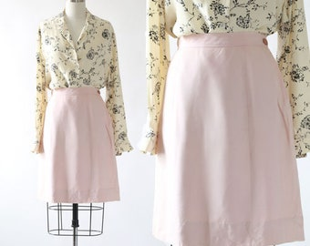 40s Blush pink skirt | Vintage 40s high waist pink weathervane rayon skirt