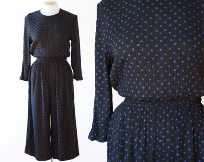 Polka Dot jumpsuit | Vintage 90s cropped jumpsuit | rayon jumpsuit