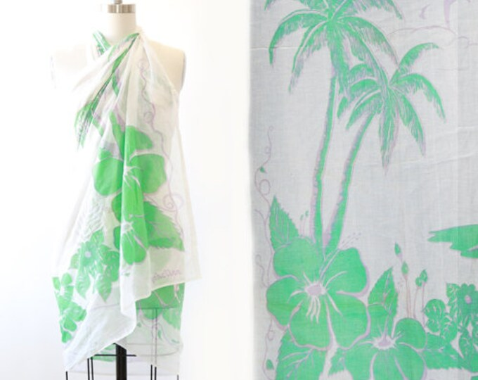 Hawaiian wrap | Vintage 70s tropical Hawaiian Palm tree coverup Skirt wrap dress scarf | Seychelles sheer Hibiscus wrap