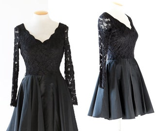 molly malloy dress | Vintage 80s black lace mini dress