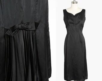 Barnett satin dress | Vintage 50s black satin bow cocktail dress | 1950s bombshell dress