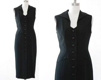 Tuxedo dress | Vintage 90s Ann Tjian for KENAR black TUX Tuxedo dress