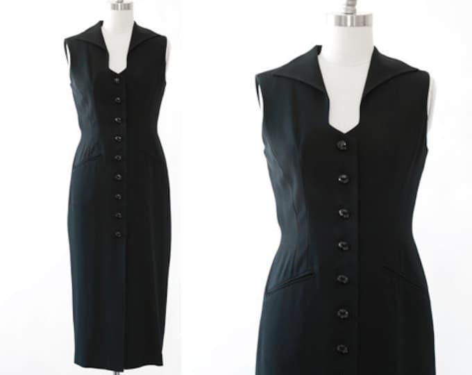 Tuxedo dress   Vintage 90s Ann Tjian for KENAR black TUX Tuxedo dress