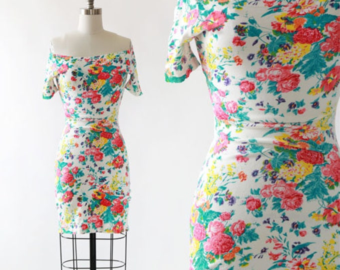 Floral stretch bodycon | Vintage 80s floral bodycon Mini Dress S