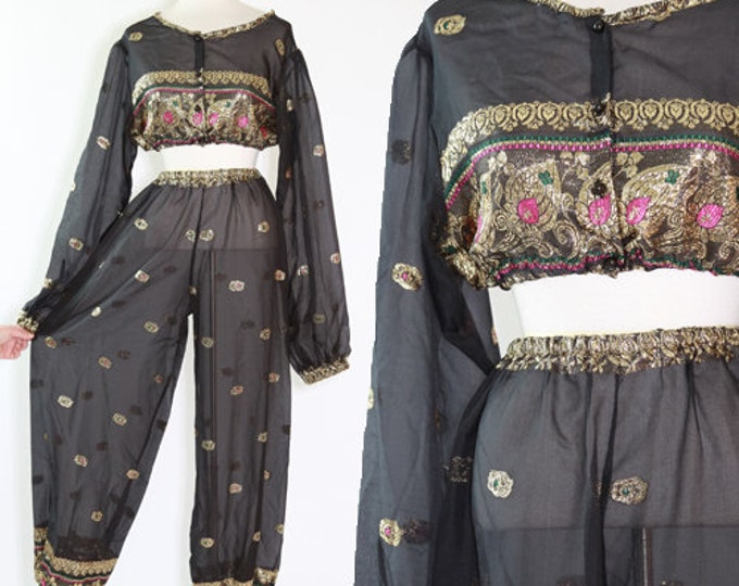 Genie set | Rare Vintage 60s embroidered gold herman 2pc set | Sheer Indian set