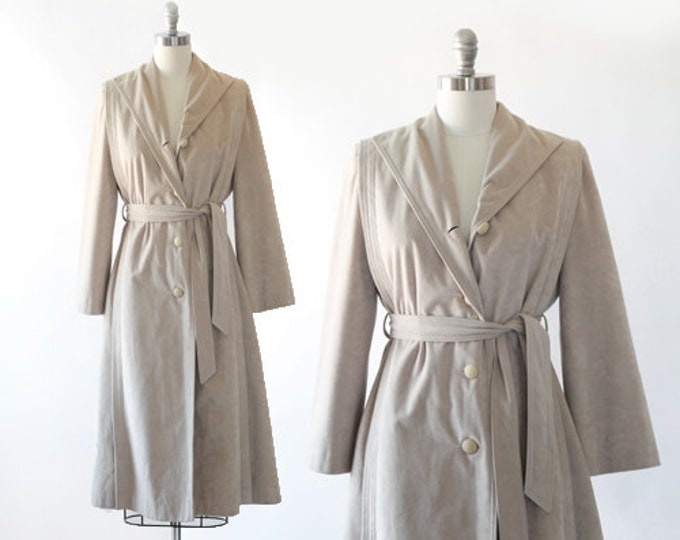Skin Gear II coat   Vintage 70s Non leather suede trench coat    belted spy trench coat