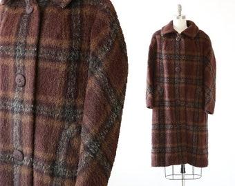Noblesse llama coat   Vintage 60s English Llama brown plaid coat   Plaid coat