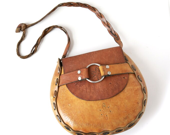Tooled leather purse | Vintage 60s tooled leather purse | large boho purse