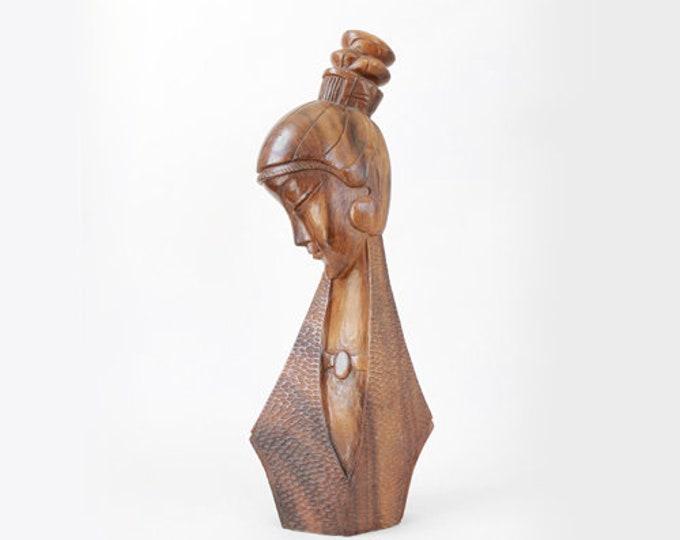 Vintage Mid Century Modern hand carved Monkey Pod Female bust figure | Tiki Bust wood Sculpture